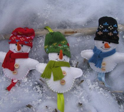 Drie sneeuwpopjes