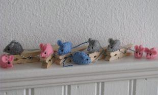 Mini muisjes op knijpers